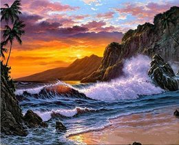 Sunset Seascape Paintings Australia - Sea sunset Free Shipping,Hand-painted & HD Print Seascape Art oil painting On Canvas Wall Art Home Decor Multi sizes l149