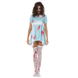 Wholesale woman vampire sexy costume online – ideas Zombie Blood Female Doll Costume Halloween Sexy COS Blue Vampire Fancy Dress Women Polka Dot Costumes