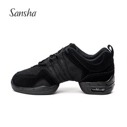 Jazz dancing shoes online shopping - Sansha Men Leather Mesh Upper Professional Dance Sneakers Jazz Salsa Modern Dancing Shoe Air Cushion Sole P22LS