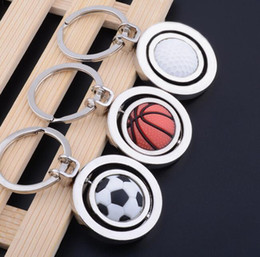 sports football key chains UK - Rotatable Football Basketball Golf Ball Sports Keychain For Keys Car Bag Key Ring Handbag Couple Key Chains Gifts Accessories World Cup Fans