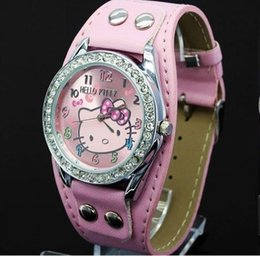42b2d75e392 New Hello Kitty Watches Fashion Ladies Quart Watch Vintage Kids Cartoon  Wristwatches Analog King Girl Brand Quartz women