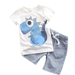 kids dinosaur clothing Canada - new fashion Summer Boys Clothes Cartoon animal Kids Boy Clothing Set dinosaur T-shit+ stripe Pants Cotton