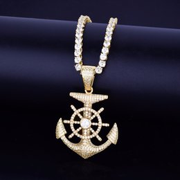 Wholesale Ship s Anchor Necklace Pendant Cubic Zircon Gold Hot seller Men s Hip hop Jewelry With mm Tennis Chain For Friend Gift
