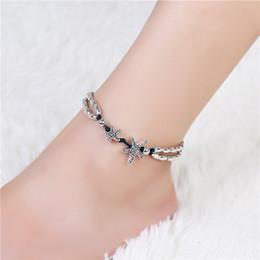 Leg Bracelets NZ - Vintage Bracelet Foot Jewelry Retro Anklet For Women Girls Ankle Leg Chain Charm Starfish Beads Ankle Bracelets Fashion Beach Jewelry