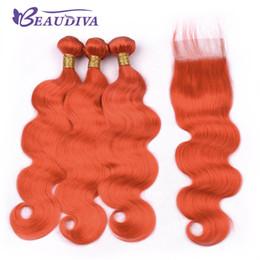 $enCountryForm.capitalKeyWord Australia - Beau Diva Orange Body Wave Hair Bundles With Lace Closure Brazilian Hair With Closure Remy Human Hair Bundles Can