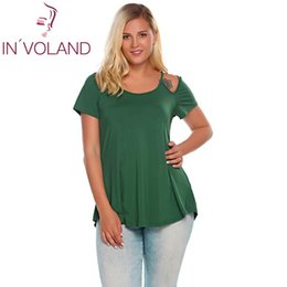 aef515cd6b647 IN VOLAND Women T-Shirts Tops Plus Size L-4XL Vintage O-Neck Short Sleeve  Cut-out Shoulder Solid Pullovers Tshirt Tees Big Size Y1891306