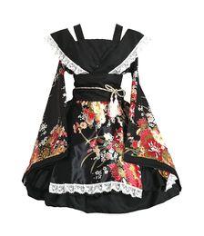 China Shanghai Story Flower Printing Lace Edge Kimono Yukata Maid Dress Meidofuku Uniform Outfit Anime Cosplay Costumes cheap maid kimono cosplay suppliers