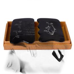 Guasha tool set online shopping - new Ox Horn engraved designs beauty massage Guasha tool comb square set