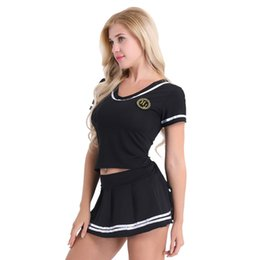 Women Costume Cheerleader UK - ostume cosplay Women Cheerleader Stage Performance Cosplay Costume Lingerie Outfit Girls Short Sleeve T-shirt Top with Mini Skirt and G-s...