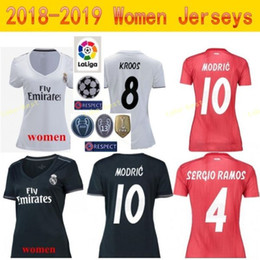 Wholesale Lady Soccer Real Madrid Women Jersey La Liga White Red BENZEMA TONI KROOS MARCELO VAZQUEZ COURTOIS Football Shirt Kit Woman Uniform
