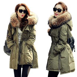 Wholesale feather wear jacket resale online - Real Fur Collar Parka Womens Winter Down Jacket Winter Jacket Women Thick Snow Wear Coat Lady Clothing Female