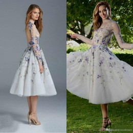backless prom dress patterns Canada - Paolo Sebastian 2018 Prom Dress Illusion Sheer Neck Long Sleeve Purple 3D Applique Tea Length Prom Dresses Sexy Backless Evening Gowns