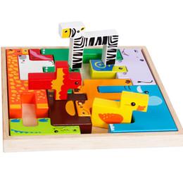 tetris block 2019 - Bricks Wooden Tangram Brain Teaser Jigsaw Giraffe Animals Block Toys Tetris Game Kids Children Educational Toys Set MZ81