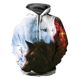 2018 mais novo preto e branco gelo fogo lobo menwomen hoodies casais 3d impressão personalidade outono inverno moletons com capuz em Promoção