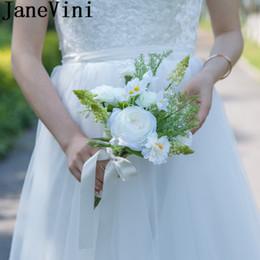 Bridal Brooch Flower NZ - JaneVini Groom Flower 2018 White Rose Bridesmaid Wedding Bouquet Silk Flowers Brooch Bridal Bouquet Artificial Bouquet De Fleurs Blanche