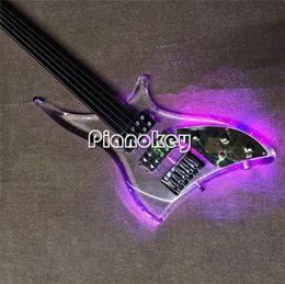 Venta al por mayor de Cuerpo transparente 5 cuerdas bajo, sin marcador de trastes, Ebony diapasón bajo eléctrico con luz LED, China hizo bajo