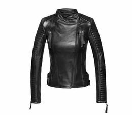 Black sheep jacket online shopping - Sheep Skin Jacket Oblique Zipper Plus Size Parka Fashion Trendy Slim Leather Jacket Women Coat Casaco Feminino GQ1296
