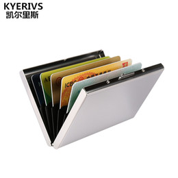 Discount business organizer leather business card organizer 2018 kyerivs cards holder organizer new design stainless steel metal case fashion business card case bank id card holders colourmoves