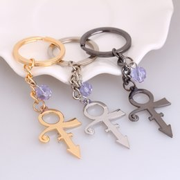 rip chains Australia - Prince RIP Memorial Symbol Love Logo Steampunk Key Chains with Purple Crystal Singer Jewelry PrArtist Key Chains
