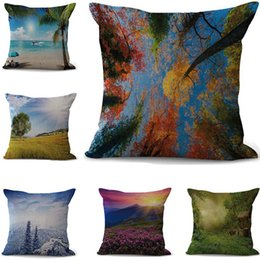 Chinese  art Idyllic landscape Pillowcase Bohemian bed landscape Pillowcover Cotton Linen Ethnic car Pillow Cover Bedroom sofa Throw Cushion dropship manufacturers