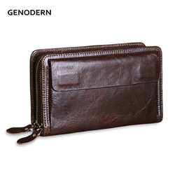 9a2bfe19708ff GENODERN Double Zipper Men Wallets with Phone Bag Vintage Genuine Leather  Clutch Wallet Male Purses Large Capacity Men s Wallets S923