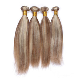 Piano Hair Weave NZ - #8 613 Piano Color Virgin Brazilian Hair Weft Extensions Straight 4Pcs Light Brown Mixed with Blonde Piano Color Human Hair Weave Bundles