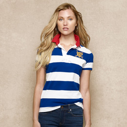 Free shipping!Summer Fashion 2018 wholesale New Brand Striped 100% cotton Short Sleeve women's Slim Polo shirt on Sale