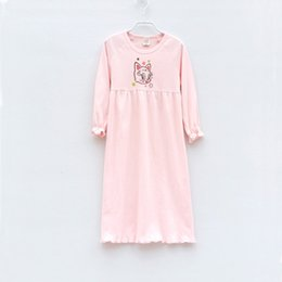 54466b42d7 Childrens Girls New Cotton Long Sleeves Nightdress Summer Pijama Girl  Cartoon Nightgowns Princess Night Gowns Girls Pajamas