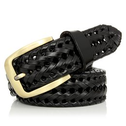 New Braided Leather Men s Belt Hand Knitted Genuine Leather Brass Pin  Buckle Casual Style Woven Tanned Cowhide 9451d9db42