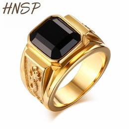 $enCountryForm.capitalKeyWord UK - HNSP Fashion Gold Ring For Men Jewelry Black Stone Crystal Male Rings Anel