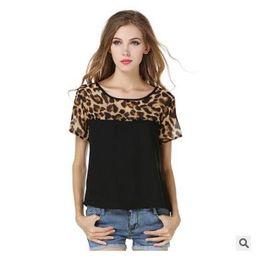 $enCountryForm.capitalKeyWord NZ - 2018 new style women's wear, European and American short sleeved leopard chiffon shirt T-shirt, foreign trade hot spot, spot factory direct