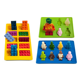 Lego brick tray online shopping - Different Shaped Lego silicone mold Robot for Candy Chocolate Block Ice Cube Tray Building Bricks Jelly Cake Mould Set of