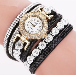 pearl bracelet wrist watch women NZ - New Women Gold Fashion Rhinestone Leather Wrist Ladies Dress Quartz-Watch Casual Pearl Vintage Bracelet Watches Gift
