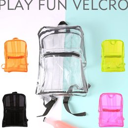 PVC Transparent Backpack Summer Beach Waterproof Clear Backpack Fashion  Style Women Girls Travel Portable Jelly Color Shoulder School Bags 719ffe9e40