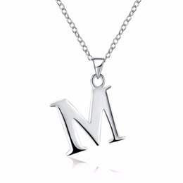 Letter D Pendant UK - Letter Collares for Women 925 solid Silver Color Pendants Statement Necklace A B C D E F G H I J K L M N O P Q R S T U V W X Y Z