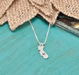 jewelry california UK - California Love Necklace Map Charm Jewelry Outline Heart With Necklace California Heart Hometown Map Pendant USA With Shaped Rorwe