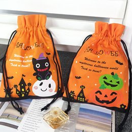 Hand Bags Types Australia - 2 Types Halloween Pumpkin Cat Candy Hand Gift Party Decorative Bag Bundle Pocket
