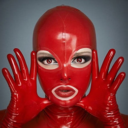 red devil mask UK - 100% Pure Latex Hoods open Eyes&Mouth for Catsuit Rubber Fetish Mask Cosplay Party Wear Handmade Costumes