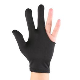 Snooker billiard pool online shopping - Lycra Fabrics Embroidery Left Hand Open Three Finger Snooker Billiard Cue Glove Pool Fitness Accessories
