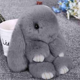 Bunny Keychain Australia - 2018 New Rabbit Keychain Cute Fluffy Bunny Keychain Rex Rabbit Fur Pompom Key Ring Pom Pom Toy Doll Bag Charm Car Key Holder