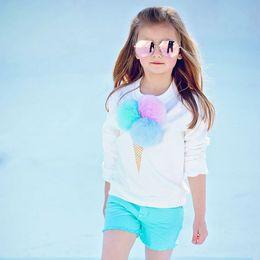 Girls Ice Cream Shirt Australia - 2pcs Toddler Baby Kids Girl Clothes Long Sleeve ice cream Sweater T-shirt+Short Girl Kids Fashion Clothes Suit
