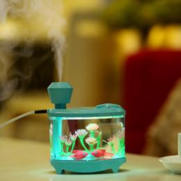 bedroom fishing lights 2019 - Creative Fish Tank Humidifier Household Mini USB Air Humidifier Beautiful Night Light DC5V 460ML Diffuser Mist Maker che