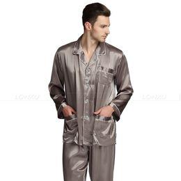 Mens Plus Size Silk Shirts UK - Mens Silk Satin Pajamas Set Pajama Pyjamas Set Sleepwear Loungewear S,M,L,XL,XXL,XXXL,4XL Plus Size
