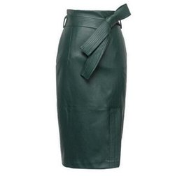 0c12c365f Autumn Winter Sexy High Waist leather Skirts High Quality leather Skirt  women plus size 4XL Womens Belted Fashion Pencil Skirt