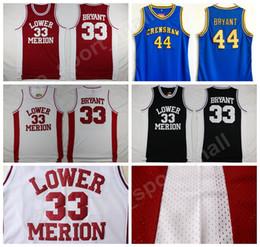 fcd579ccf Lower Merion College 33 Kobe Bryant Jersey Men Red Black White Blue  Hightower Crenshaw High School Bryant Basketball Jerseys Wholesale Sport