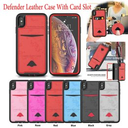 wholesale x stands 2019 - Defender Leather Wallet Case For iPhone X Xs Max XR 8 7 6 6S Plus Stand Card Cover With Card Slot cheap wholesale x stan