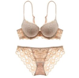 bad3f92849e54 New Sexy lace embroidery flowers thin thick double shoulder strap bra set  deep V-neck thickening women s push up underwear