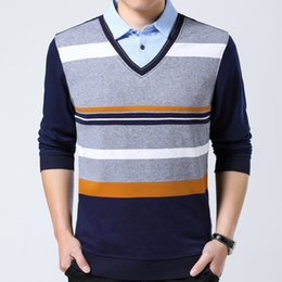 Discount fake branded clothing - 2018 brands striped shirt men clothes thick fashions long sleeve shirts s mens fake two pieces jersey shirt 8122