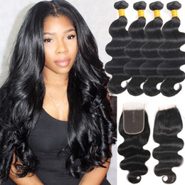 human hair extensions india Canada - Indian Body Wave Human Hair 4 Bundles with Lace Closure India Remy Human Hair Extension Wholesale