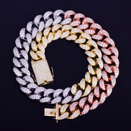 Gold silver mix chain online shopping - Men s mm Heavy Mixed Color Miami Cuban Necklace Choker Iced Cubic Zircon Hip hop Jewelry Gold Silver Chain quot quot